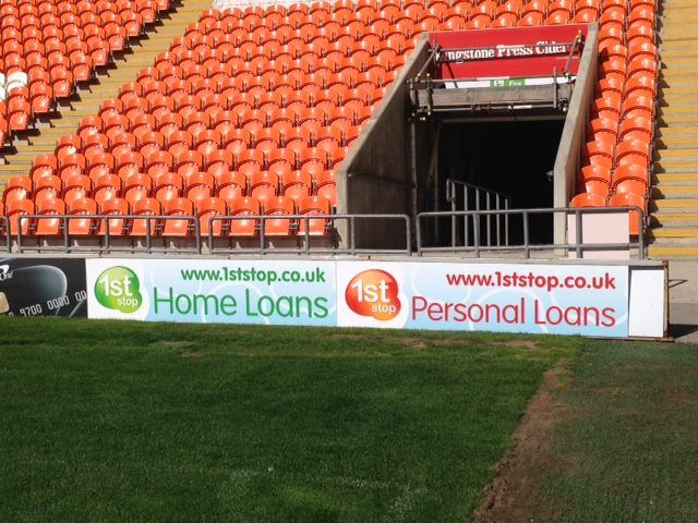 1st Stop Finance Banner at Blackpool FC