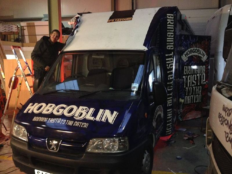 Exterior of the Hobgoblin Sampling Van Vinyl Wrapped