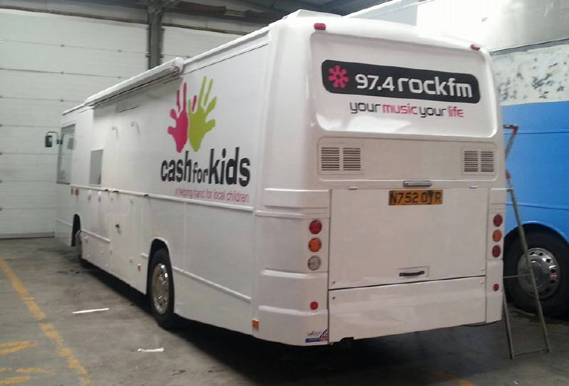 Rock FM bus Exterior Branded for station and Cash for Kids